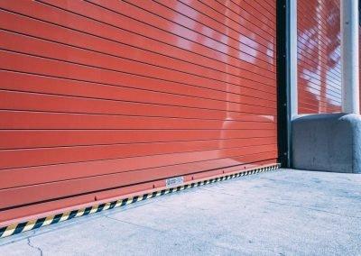 Red rolling overhead door installed by Union Door