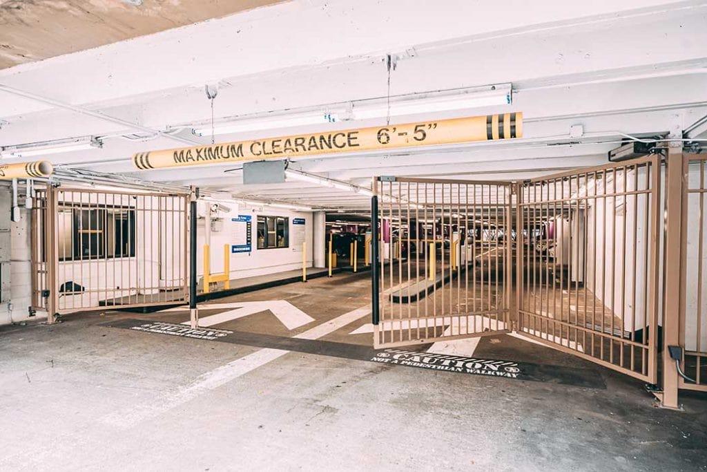 Parking lot garage security gates opening