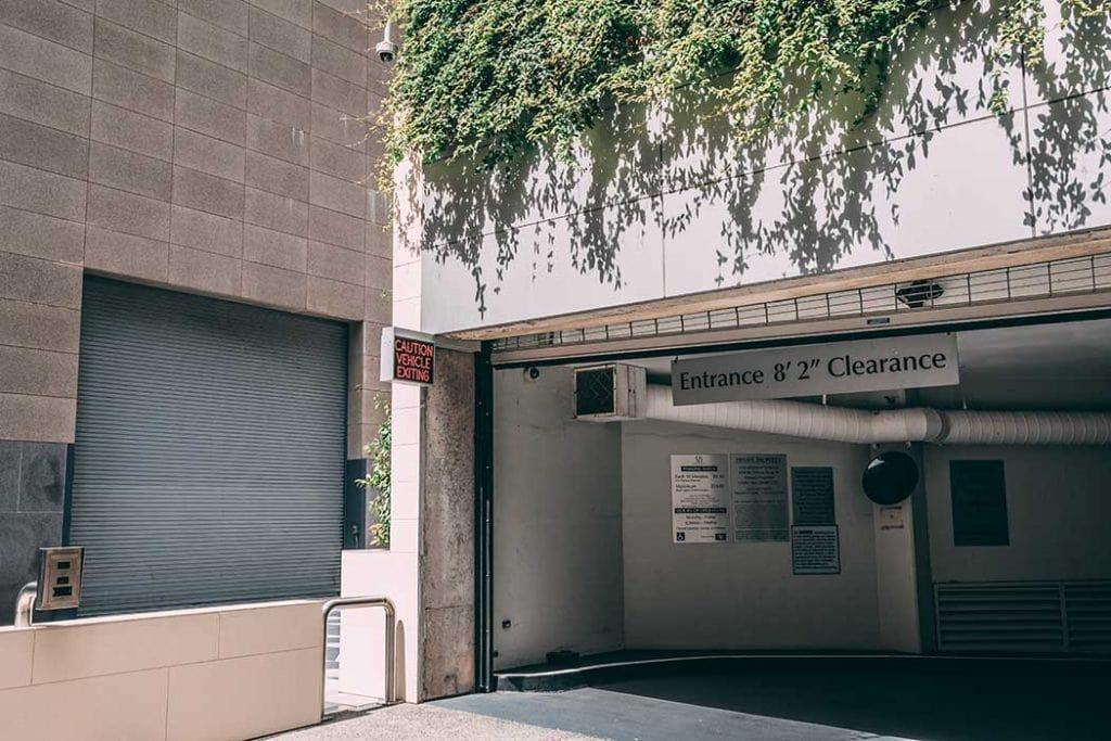 Entrance to a parking garage