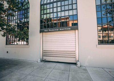 Rolling door to building's side entrance