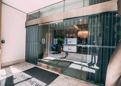Glass automatic lobby doors installed by Union Door