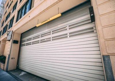 Commercial rolling security door installed for a parking garage