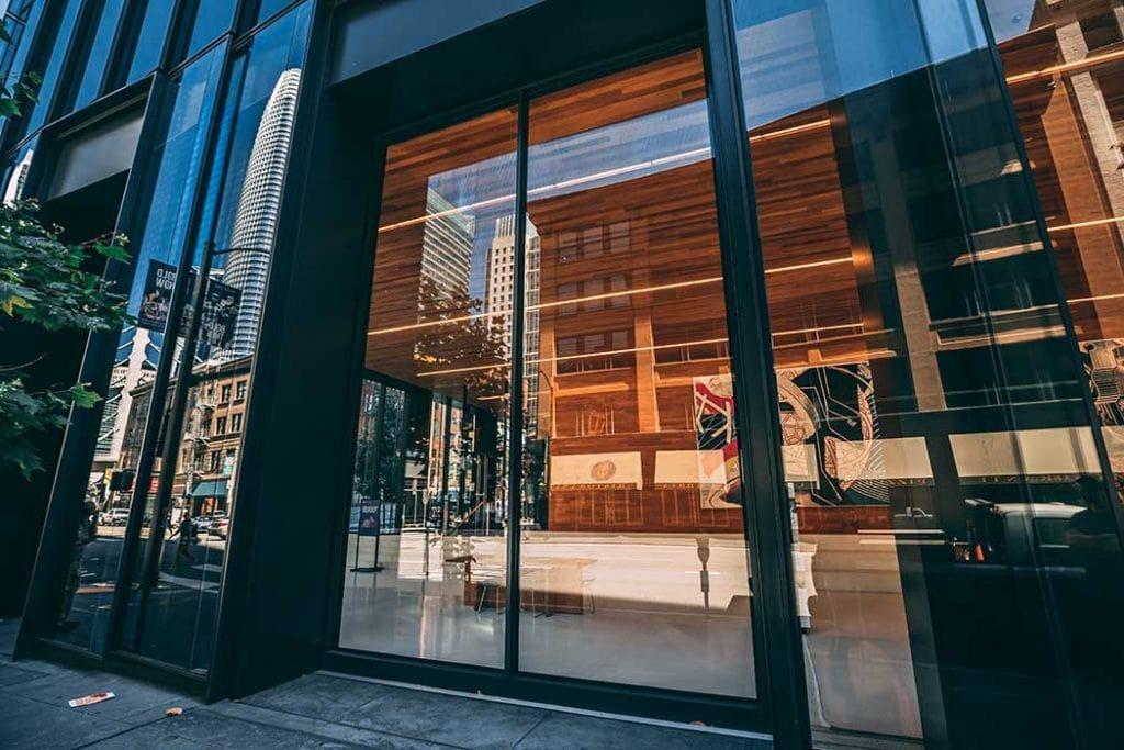 Large commercial glass sliding doors installed for San Francisco retailer