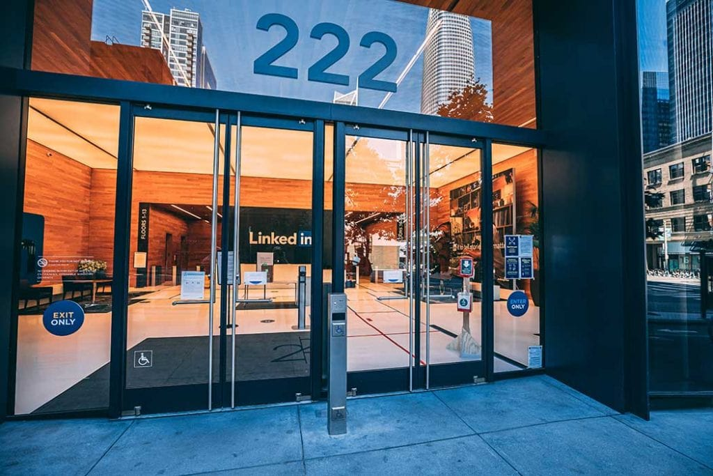 Glass lobby doors for LinkedIn's San Francisco building by Union Door