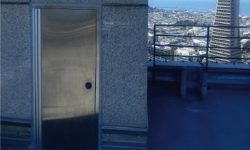 Fire rated door on San Francisco building's roof