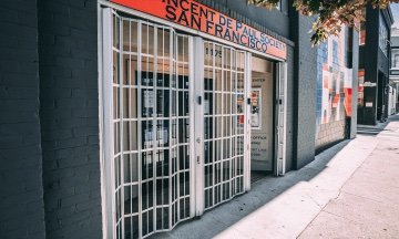 Security gate installed at the front entrance of a San Francisco business