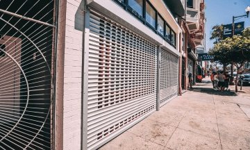 Rolling security gates installed on storefront in San Francisco