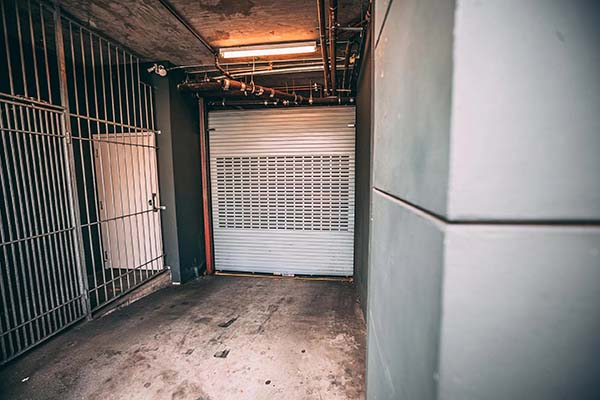 Commercial security grill installed in building