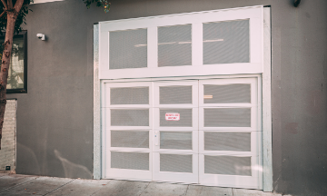 Red overhead metal doors installed for Fire House in San Francisco